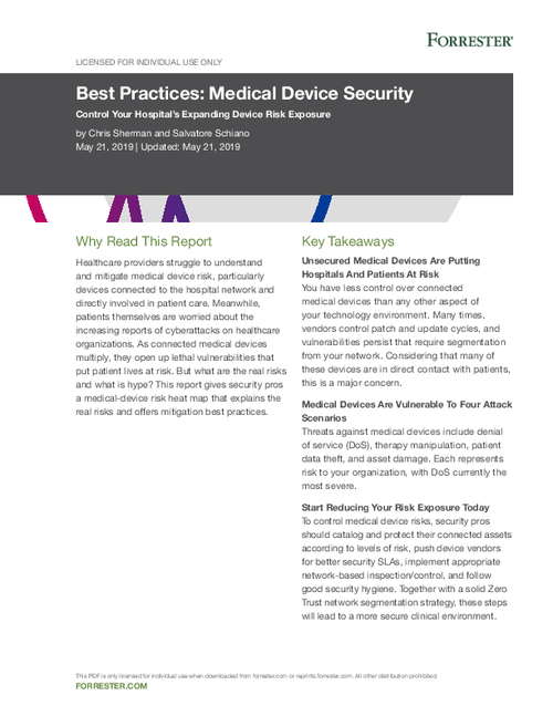 Forrester Report Best Practices: Medical Device Security
