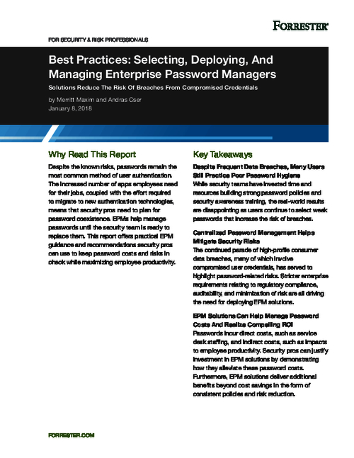 Forrester Report | Best Practices: Selecting, Deploying, and Managing Enterprise Password Managers