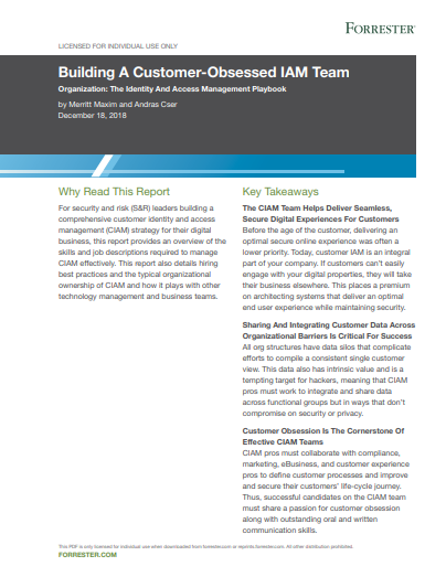 Forrester Report: Building A Customer-Obsessed IAM Team