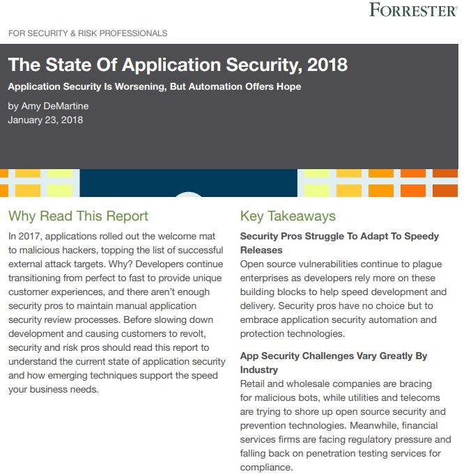Forrester Report: The State of Application Security in 2018 & Beyond