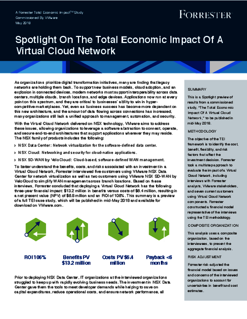 Forrester Spotlight On The Total Economic Impact Of A Virtual Cloud Network