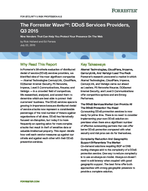 The Forrester Wave: DDoS Services Providers, Q3 2015