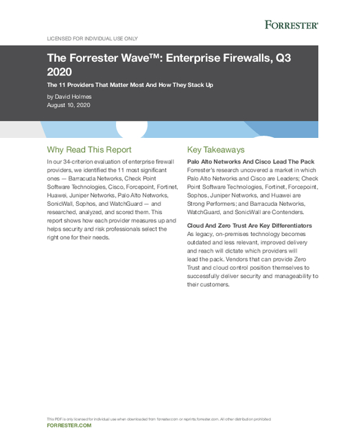 Cisco named a leader in The Forrester Wave: Enterprise Firewalls, Q3 2020