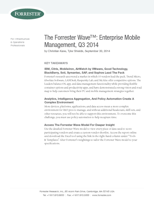 Forrester Comparison Guide: Enterprise Mobile Management Solutions
