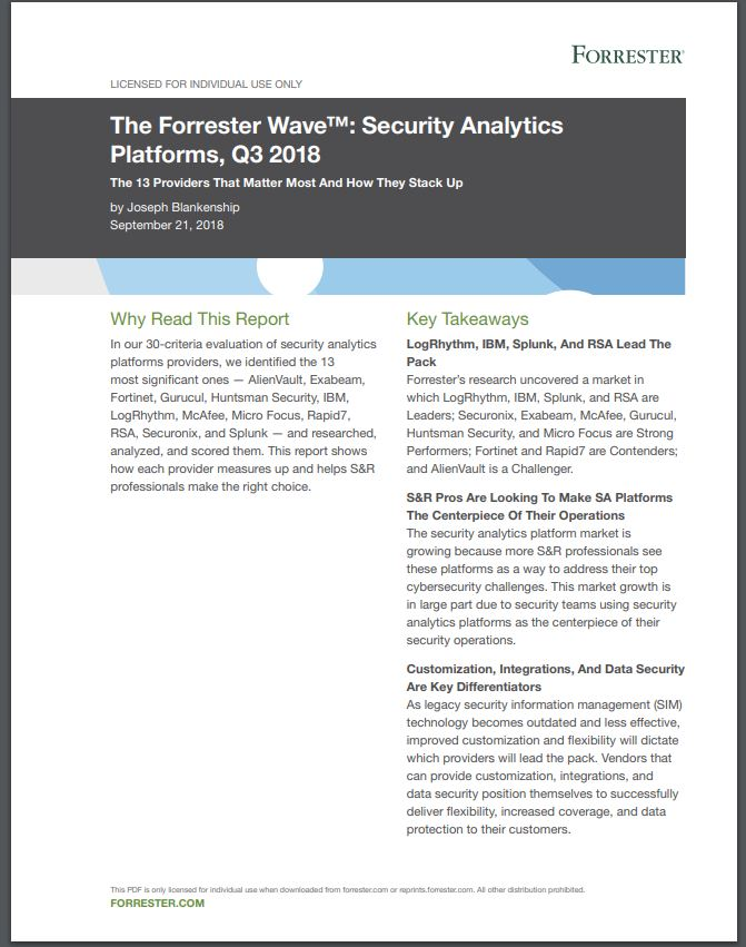 Forrester Wave for Security Analytics Platforms 2018