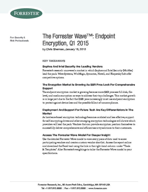 Forrester Wave Report: Endpoint Encryption