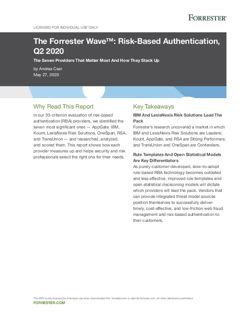 Forrester Wave: Risk-Based Authentication, Q2 2020