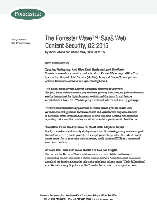 Forrester Research: SaaS Web Content Security 2015