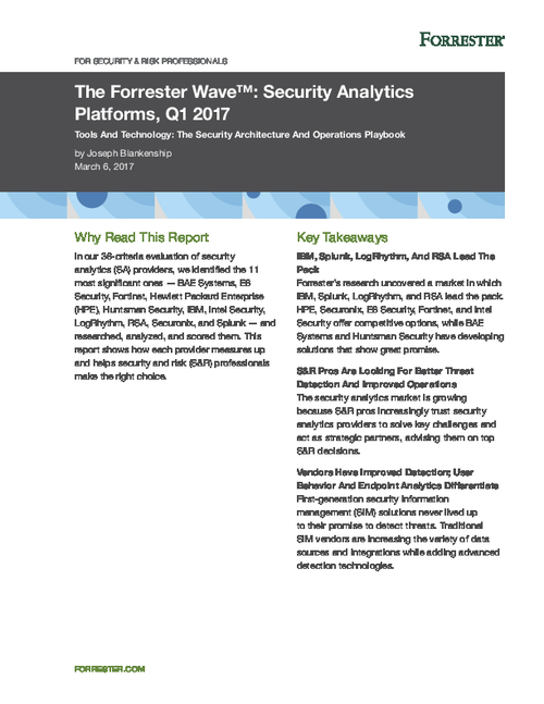 Forrester Wave: Security Analytics Platforms, Q1 2017