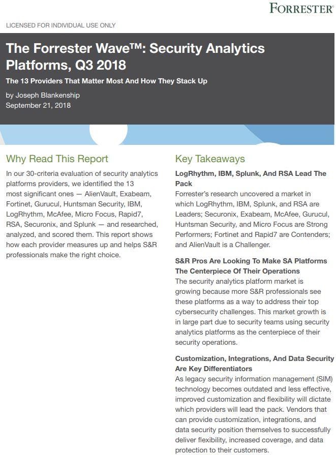 The Forrester Wave: Security Analytics Platforms