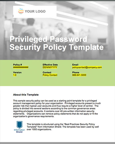 Free privileged password security policy template for It security policy templates
