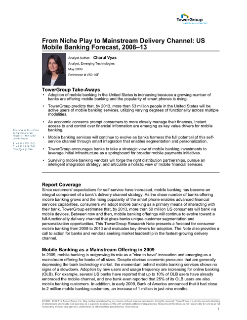 From Niche Play to Mainstream Delivery Channel: US Mobile Banking Forecast