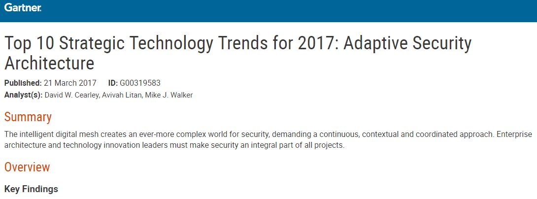 Top 10 Strategic Technology Trends for 2017: Adaptive Security Architecture