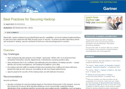 Gartner Best Practices for Securing Hadoop