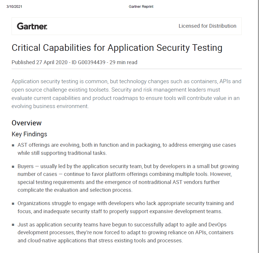 Gartner: Critical Capabilities for Application Security Testing