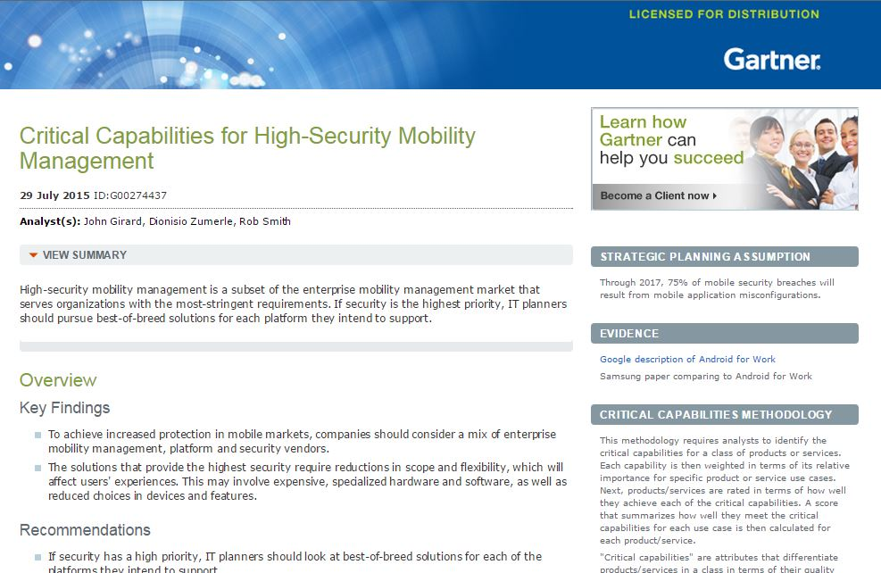Gartner Critical Capabilities for High Security Mobility Management