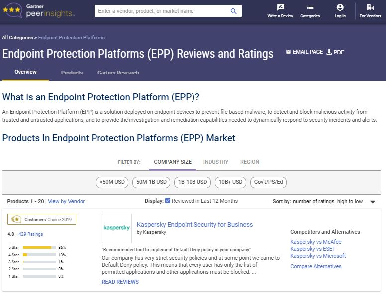 Gartner | Endpoint Protection Platforms (EPP) Market