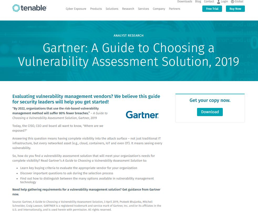 Gartner: A Guide to Choosing a Vulnerability Assessment Solution, 2019