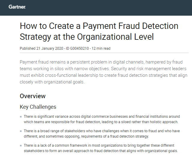 Gartner: How to Create a Payment Fraud Strategy at the Organizational Level
