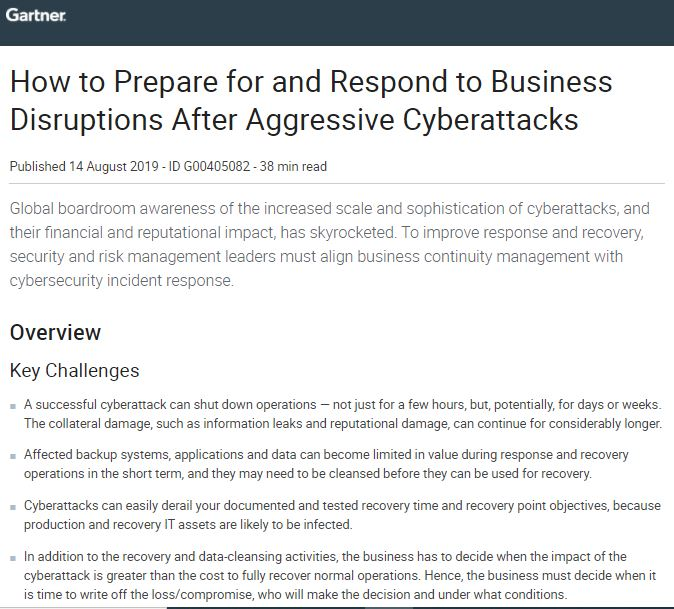 Gartner: How to Prepare for and Respond to Business Disruptions After Aggressive Cyberattacks
