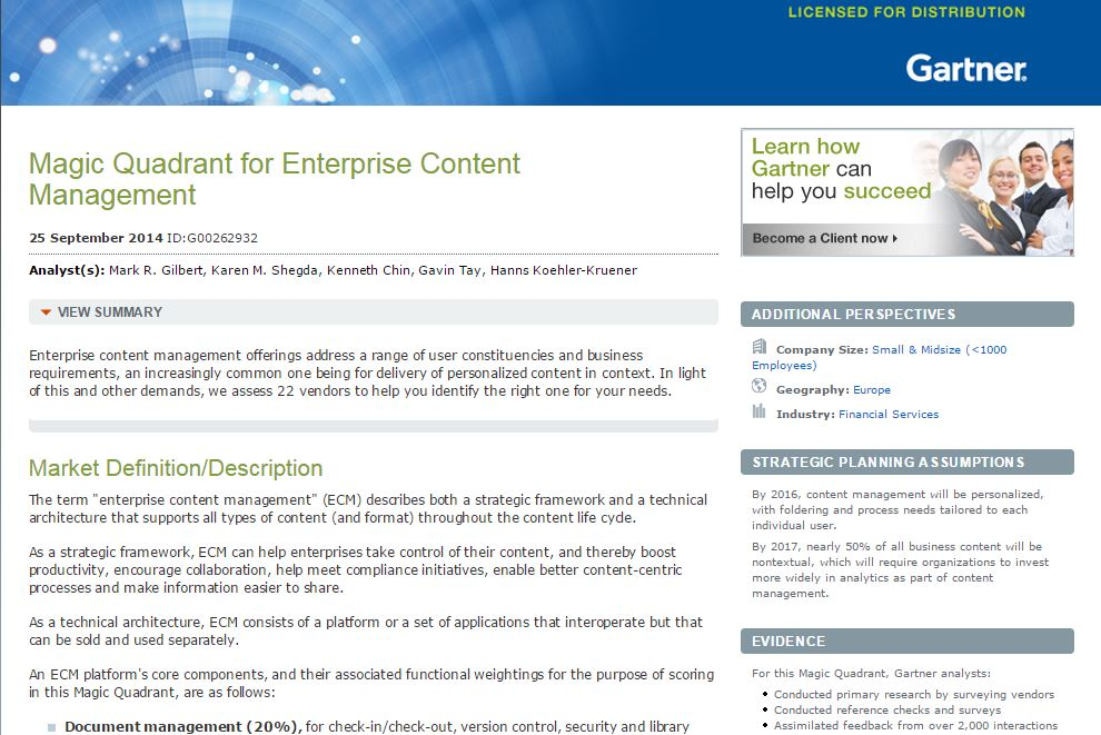 Gartner and IBM ECM newsletter