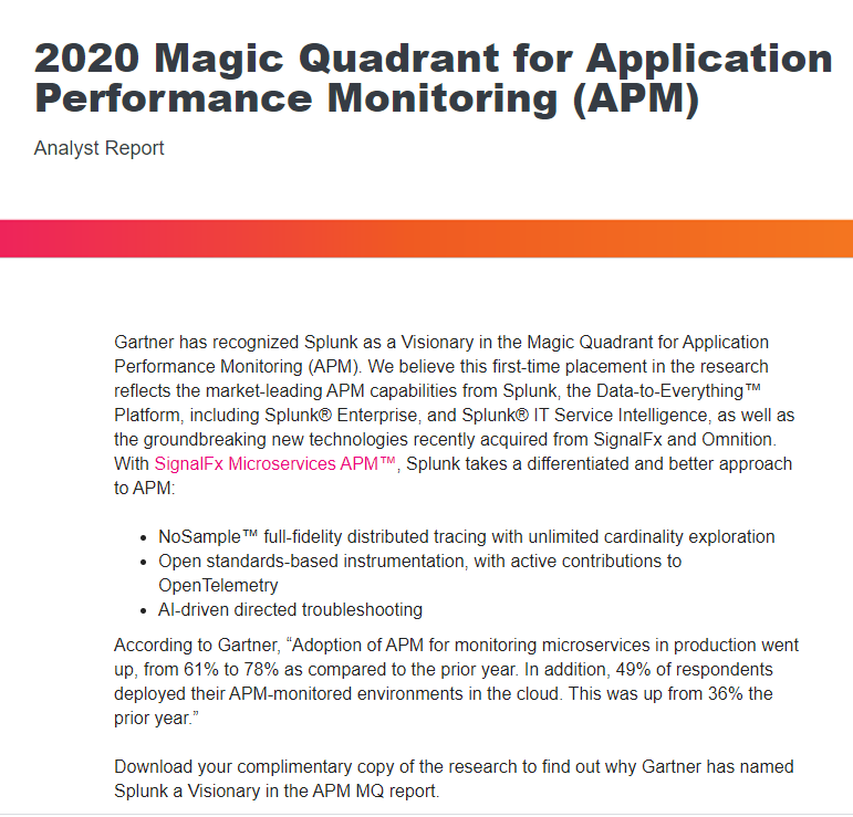 Gartner Magic Quadrant for APM