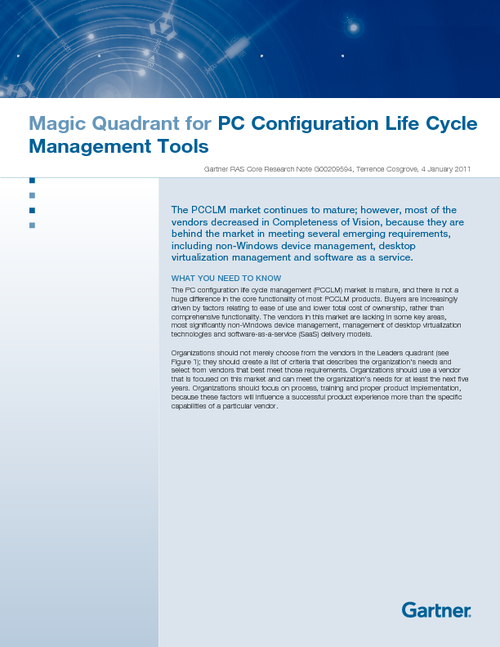 Gartner Magic Quadrant for PC Configuration Life Cycle Management Tools