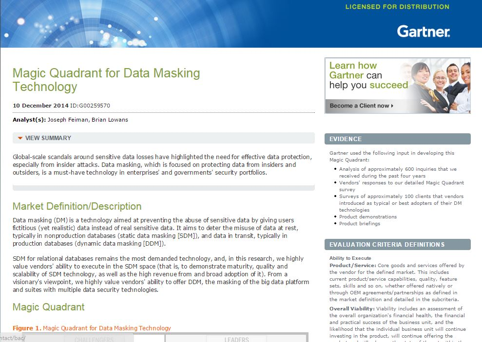 Gartner Magic Quandrant for Data Masking Technology