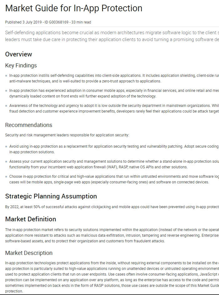 Gartner Market Guide for Application Shielding