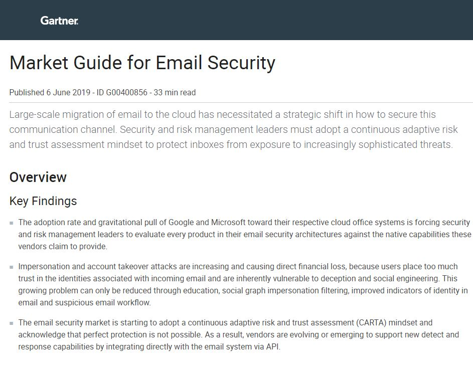 Gartner Market Guide for Email Security