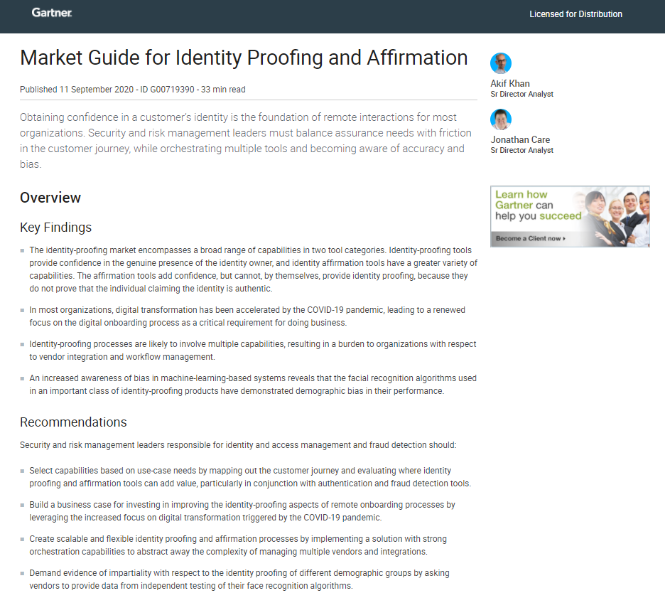 Gartner: Market Guide for Identity Proofing and Affirmation