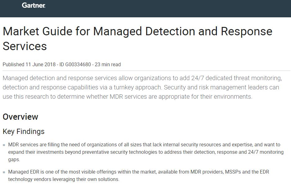 Gartner's 2018 Market Guide for Managed Detection and Response Services