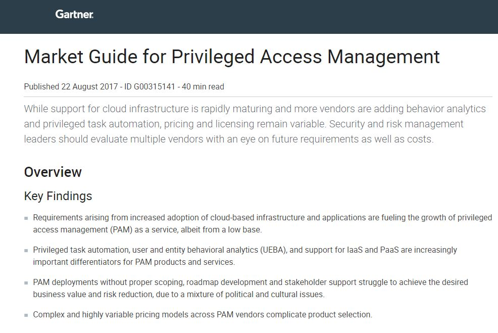 Gartner: Market Guide for Privileged Access Management