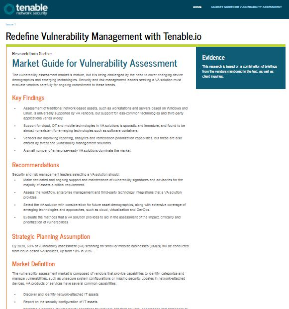 Gartner - Market Guide for Vulnerability Management