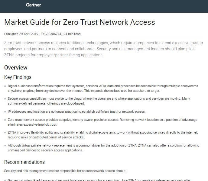 Gartner: Market Guide for Zero Trust Network Access