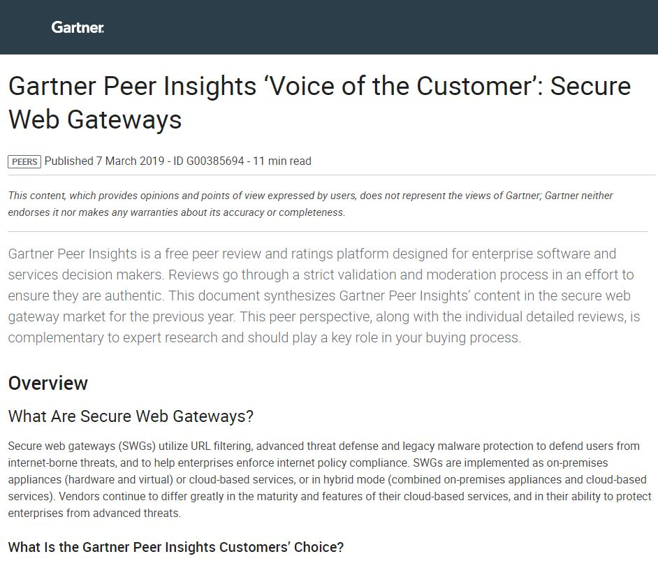 Gartner Peer Insights 'Voice of the Customer': Secure Web Gateways
