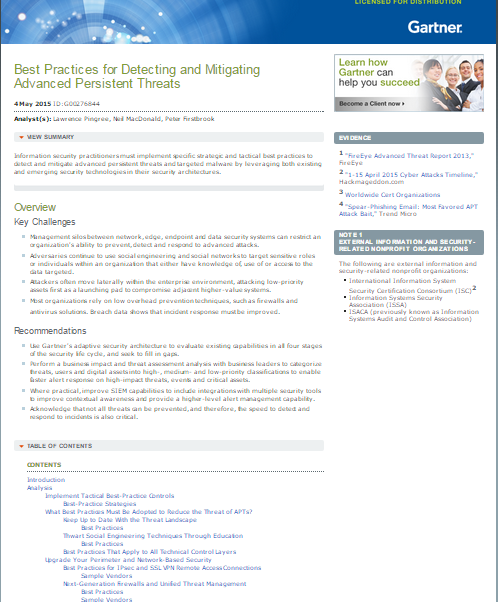 Gartner Report: Best Practices for Detecting and Mitigating Advanced Persistent Threats