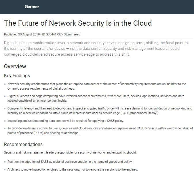 Gartner Report:  The Future of Network Security Is in the Cloud