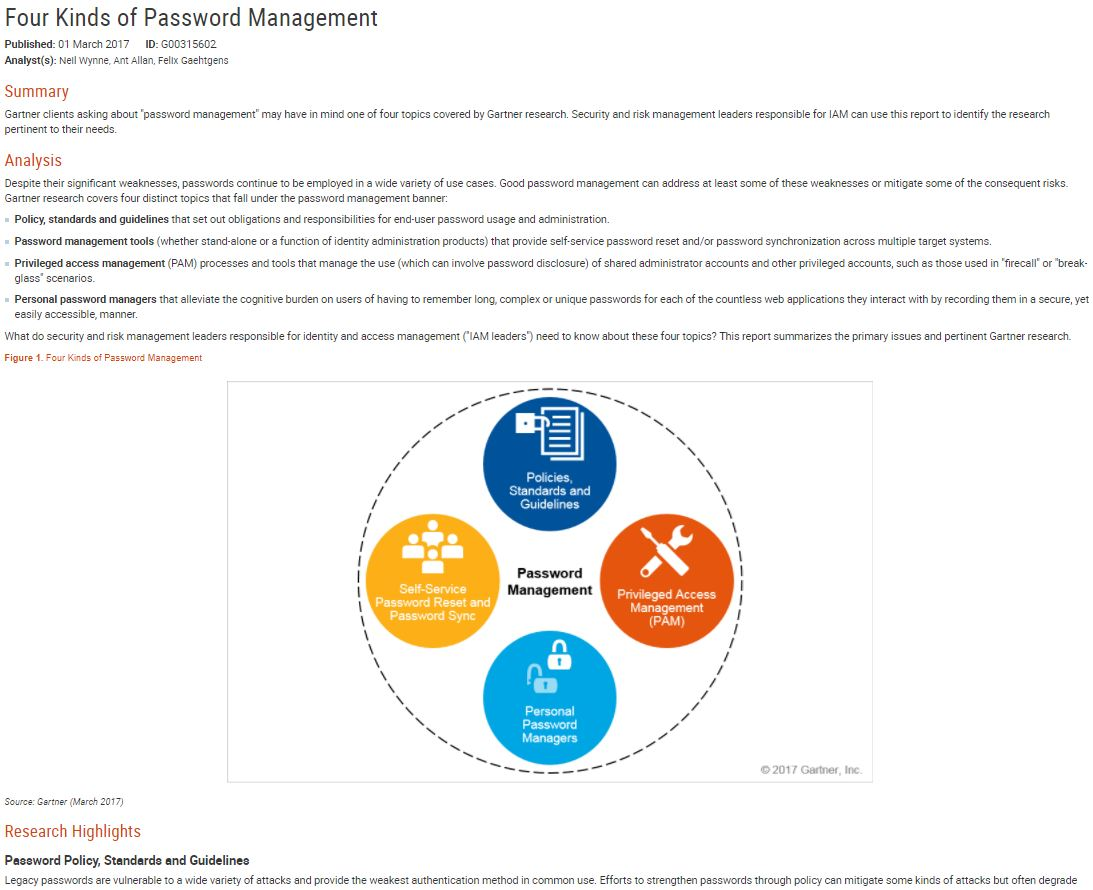 Gartner Report: PAM, SSO the Role of Password Managers in an IAM Program