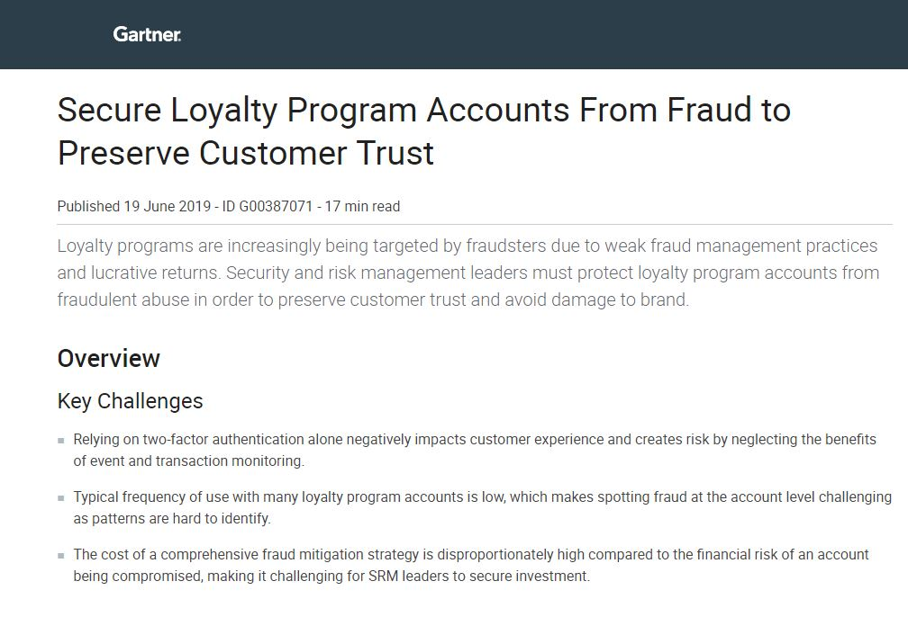 Gartner Report: Secure Loyalty Program Accounts From Fraud to Preserve Customer Trust
