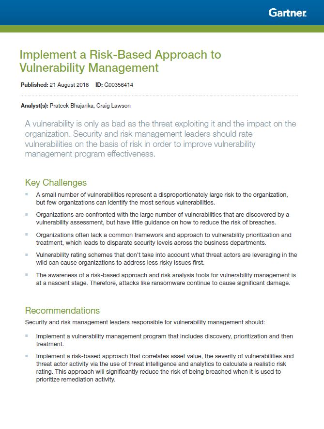 Gartner Report: Vulnerability Management Via a Risk-Based Approach
