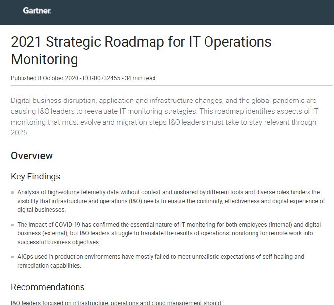 Gartner Research: 2021 Strategic Roadmap for IT Operations Monitoring