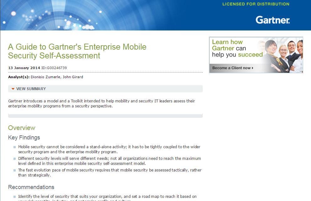 Gartner's Enterprise Mobile Security Model