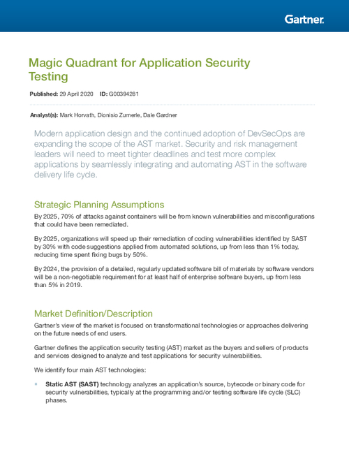 Gartner's Magic Quadrant for Application Security Testing