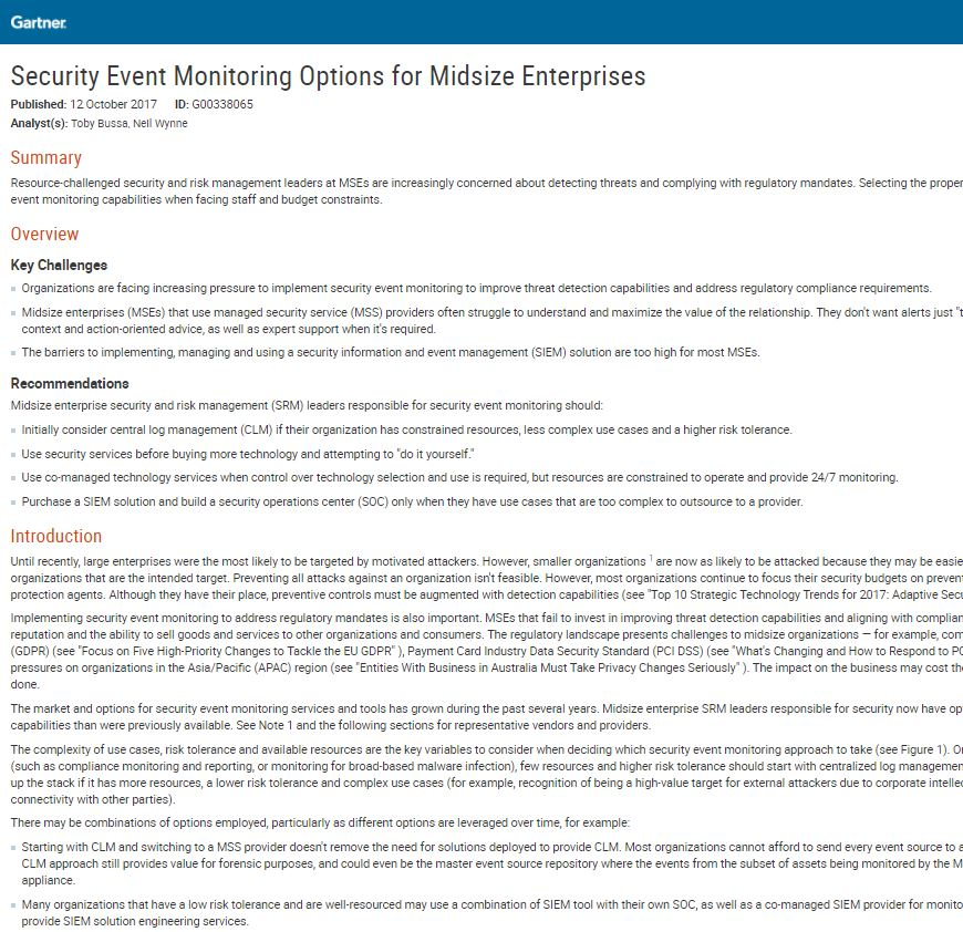 Gartner's Security Event Monitoring Options for Midsize Enterprises