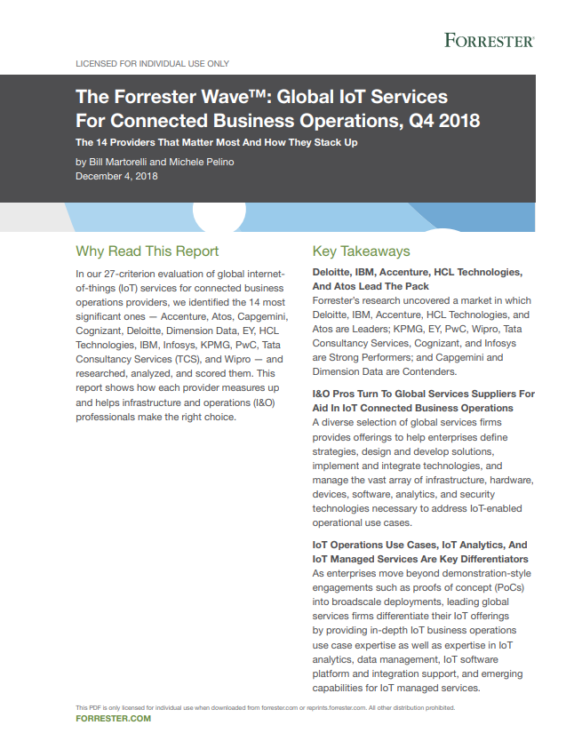 The Forrester Wave: Global IoT Services For Connected Business Operations