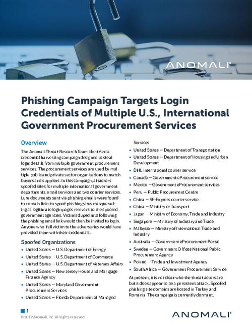 Global Phishing Campaign Spoofs Multiple Government Procurement Services With Credential Harvesting
