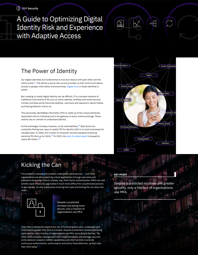 A Guide to Optimizing Digital Identity Risk and Experience with Adaptive Access