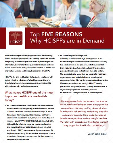 Top Five Reasons Why HCISPPs Are In Demand