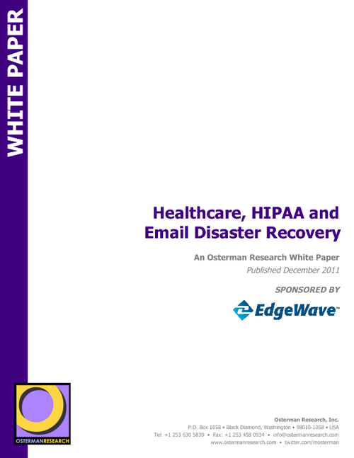 Healthcare, HIPAA and Email Disaster Recovery